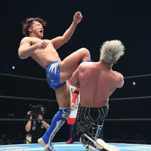 SANADAに必殺のカミゴェを叩き込んだ飯伏幸太(新日本プロレス提供)