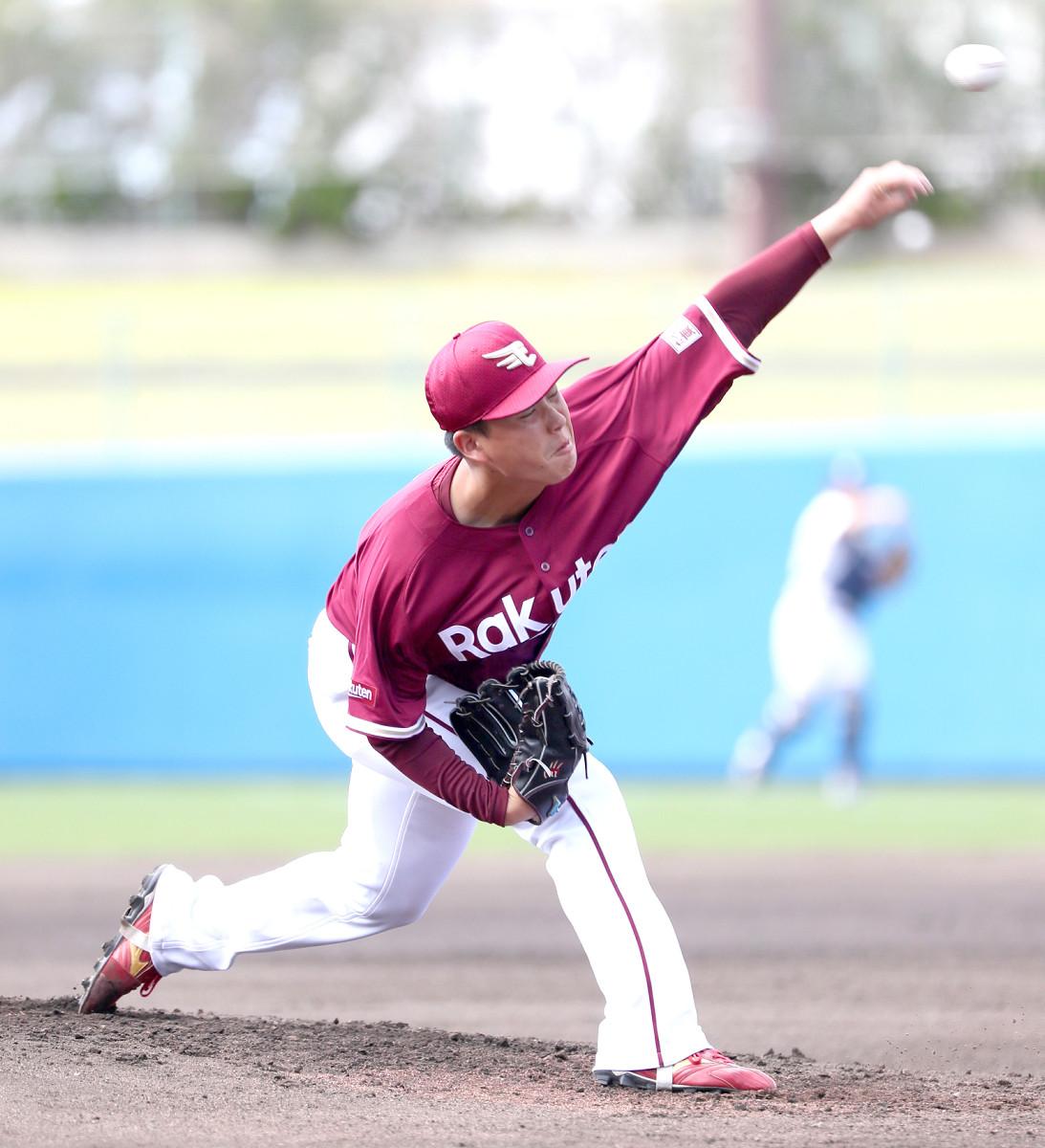 ヤクルトとの練習試合で先発した楽天・藤井投手