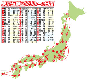 東京五輪聖火リレーの日程