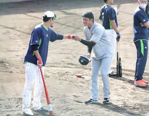 試合前練習で高校の先輩・坂口智隆(左)に挨拶をしてグータッチをする平内龍太