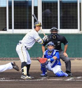1回2死、佐藤輝明が四球で出塁する