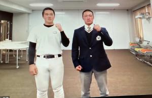 オンラインで取材に応じた中京大中京の畔柳(くろやなぎ)投手(左)と原主将