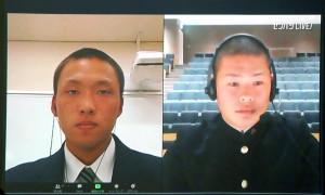 オンラインのインタビューに応じる三島南・伊藤侍主将(左)と鳥取城北・畑中主将