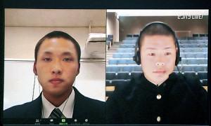 オンラインで抽選会に参加した三島南・伊藤侍主将(左)と鳥取城北・畑中主将