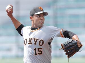 1ヶ所打撃で投球するサンチェス(カメラ・山崎 賢人)