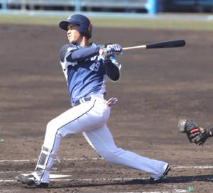 2回無死一塁、先制2ランを放つブランドン(カメラ・石田 順平)