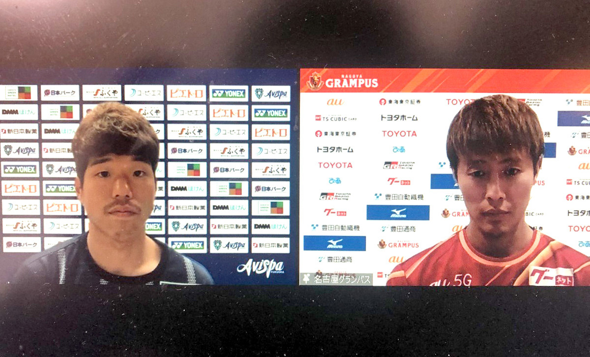 オンライン会見に出席した福岡のMF前寛之(左)と名古屋のFW柿谷曜一朗