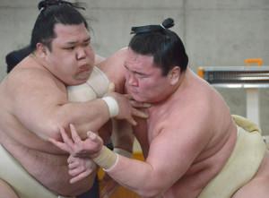 白鵬と白熱の稽古を見せる阿武咲(左)(代表撮影)