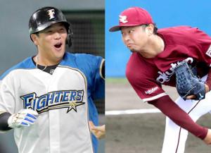 日本ハム・横尾(左)と楽天・池田隆
