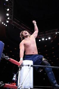 タマ・トンガとの一騎打ちを制し、雄叫びを上げる後藤洋央紀(新日本プロレス提供)
