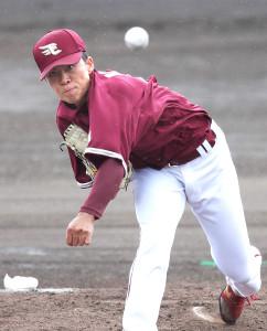 中日との練習試合に先発し、3回1失点の好投を見せた早川(カメラ・関口 俊明)