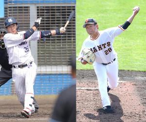 広岡大志(左)と田口麗斗