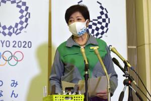5者会談後、記者団の取材に応じた小池百合子都知事(カメラ・瀬戸 花音)