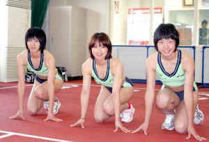 08年4月当時の北海道ハイテクAC「3人娘」(左から福島、北風、寺田)