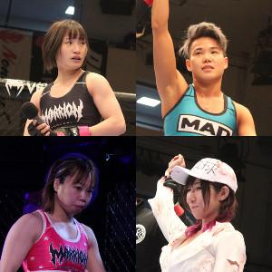 アトム級GP準決勝に勝ち進んだ(左上から時計回りに)大島沙緒里、パク・シウ、村上彩、青野ひかる