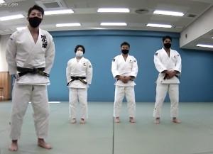 オンライン柔道交流会を開いた(左から)吉田優也氏、中村美里、海老沼匡、羽賀龍之介