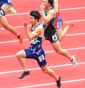 男子60m(予選)予選1組から、6秒57の大会新記録で予選を通過した多田修平