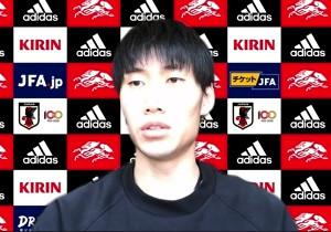 オンライン取材に対応した日本代表MF鎌田大地