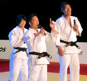 オンラインで柔道教室を行った(左から)松本薫さん、野村忠宏さん、篠原信一さん