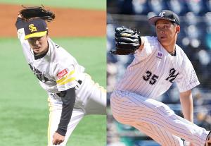 ソフトバンク・和田毅とロッテ・鈴木昭汰(右)