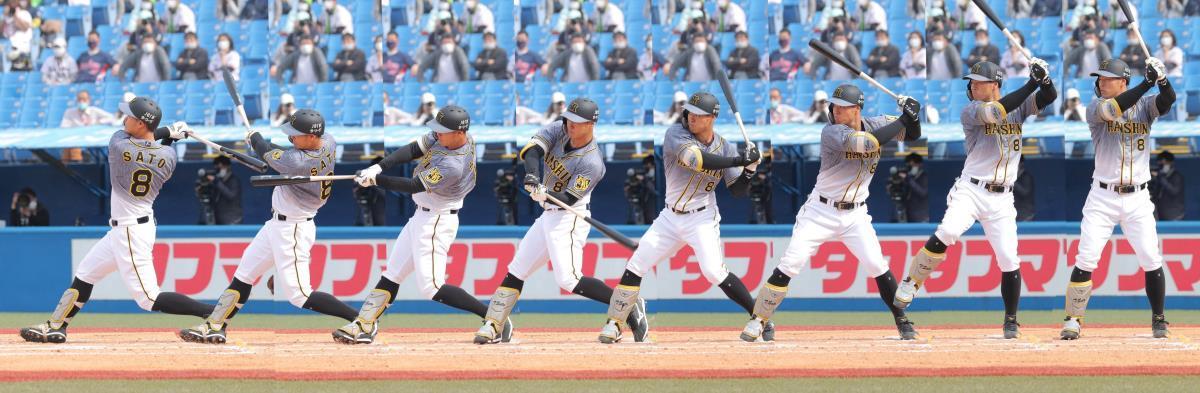佐藤輝明、プロ初本塁打のスイング連続写真(右から)1~8