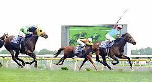 天皇賞・春からの転戦で2着と底力を見せた92年安田記念のカミノクレッセ(左)