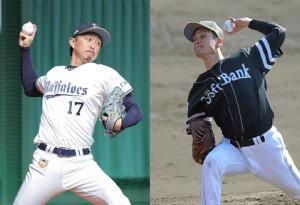 先発のオリックス・増井(左)とソフトバンク・大竹