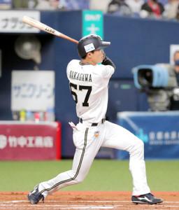 1回1死満塁、中川圭太は左越えへの先制2点二塁打を放つ