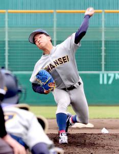 関学大の黒原拓未は自己最速タイの150キロをマークしたものの、6回1失点で敗戦投手に