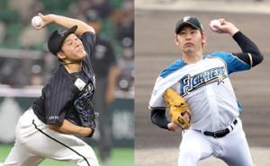 ロッテ・鈴木(左)と日本ハム・加藤