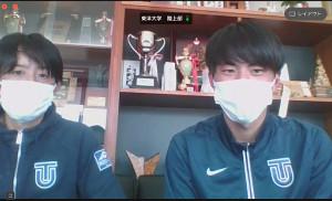 東洋大・酒井監督(左)とオンラインで取材に応じた石田洸介
