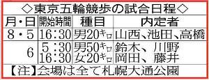 東京五輪競歩の試合日程