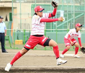 4日の試合で登板した上野