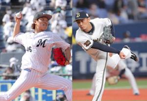 ロッテ・岩下大輝(左)とオリックス・増井浩俊