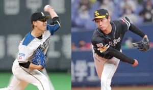 日本ハム・河野竜生(左)とソフトバンク・武田翔太