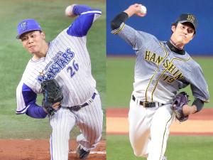 DeNA・浜口遥大(左)と阪神・藤浪晋太郎