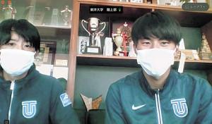 オンライン取材に応じた(左から)酒井監督と石田洸介