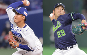 中日・柳裕也(左)と、ヤクルト・小川泰弘