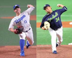 中日・小笠原慎之介(左)と、ヤクルト・田口麗斗
