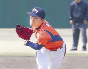 リーグ戦初登板初先発で7回無失点と好投した東北公益文科大・柳沢大