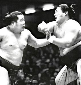 75年夏場所8日目の天覧相撲で、富士桜(左)と激しい突っ張り合いを繰り広げた麒麟児