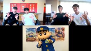 「クレヨンしんちゃん」とのコラボイベントを行った浦和の(左から)阿部、興梠、西川、槙野(写真提供:浦和レッズ)