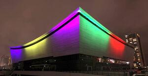 東京五輪開幕100日前を迎え、ライトアップされた有明アリーナ