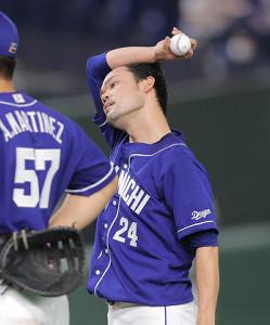2回2死二、三塁、松原聖弥に2点打を打たれた福谷浩司