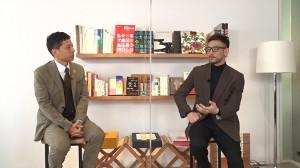 2週連続で「FOOT?BRAIN」にゲスト出演する中田英寿氏(右)とMCの勝村政信