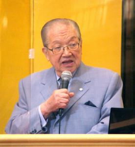 横浜港ハーバーリゾート協会の全体集会で、カジノ反対を改めて訴えた藤木幸夫会長