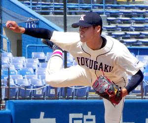 リーグ戦初登板で2回無失点の好救援を見せた国学院大・坂口