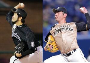 先発のロッテ・石川歩(左)と日本ハム・加藤貴之