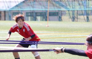チューブを使ったトレーニングで笑顔を見せるマイナビ仙台レディースのFW宮沢