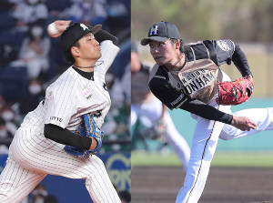 ロッテ・小島和哉(左)と日本ハム・伊藤大海